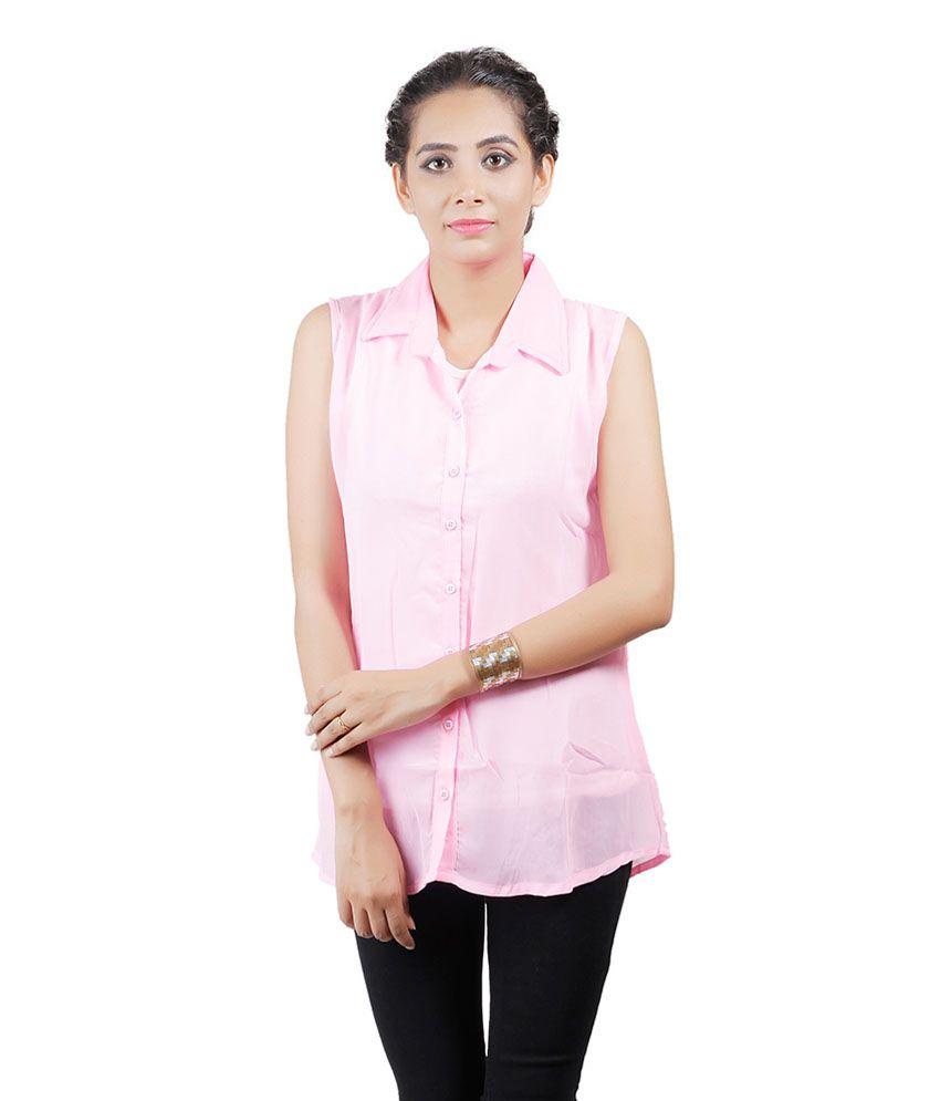 Asmara Pink Poly Chiffon Shirts