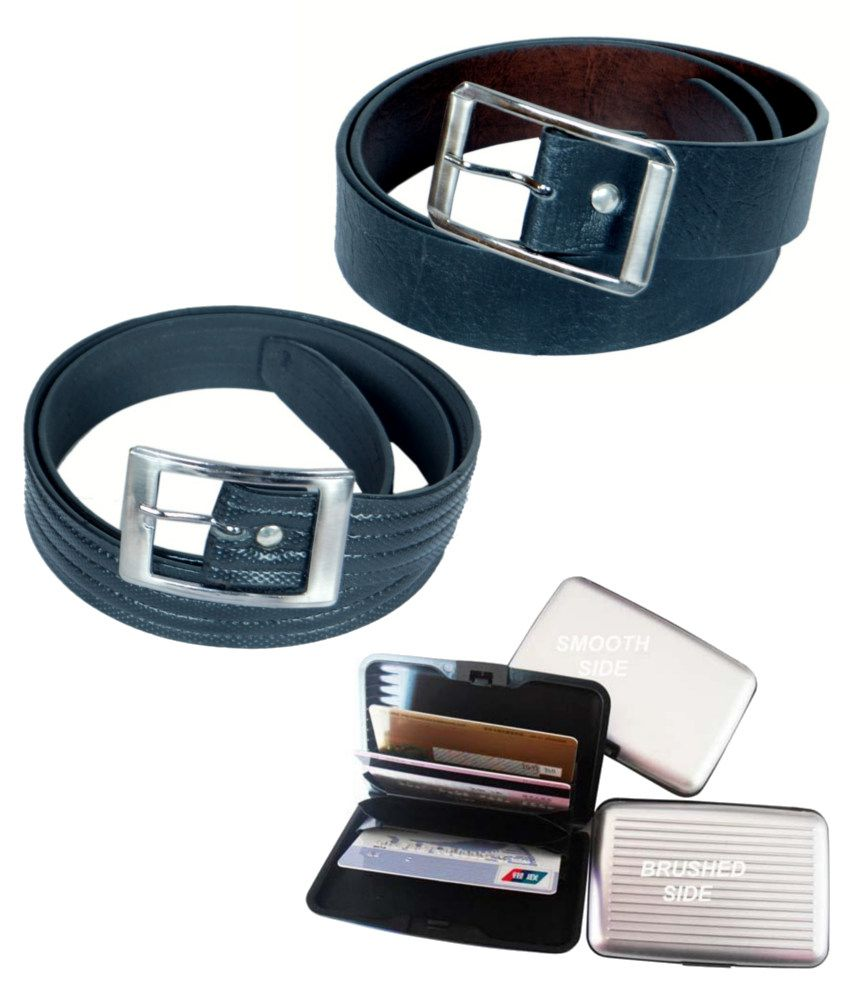 KVELL Be Proud Present's Present's Combo Of Soft Black , Shinning Black Belt & Assorted Card Wallet