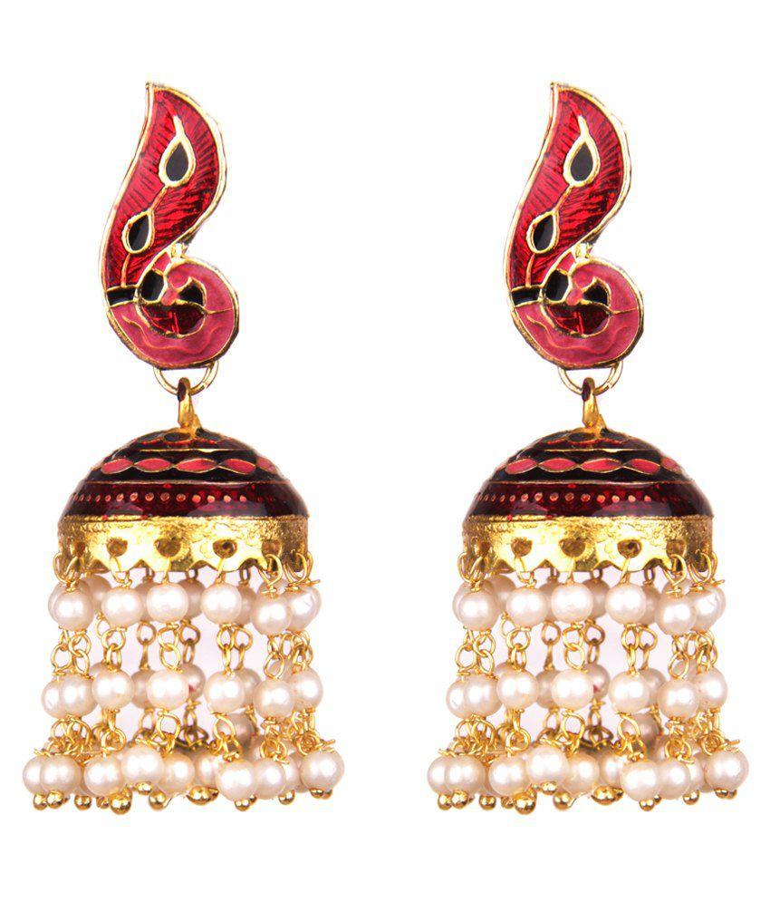 Makezak Multicolour Brass Festive Jhumki Earrings