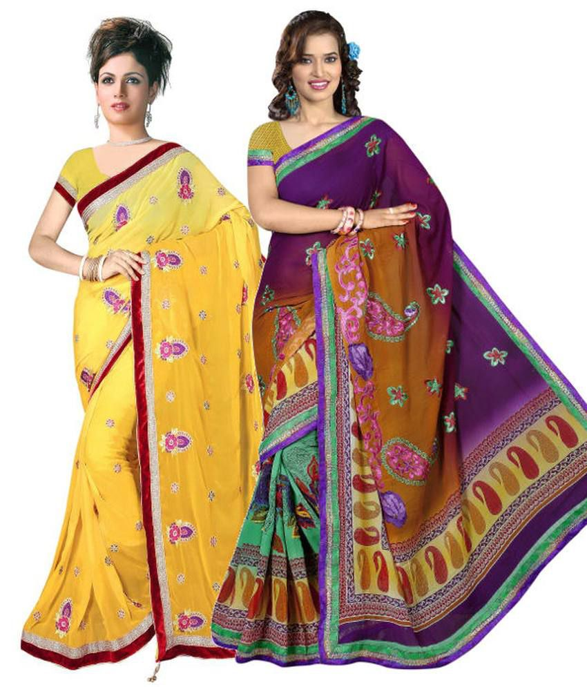Reya Combo of Yellow and Purple Embroidered Faux Georgette Sarees with Blouse Piece (Pack of 2)