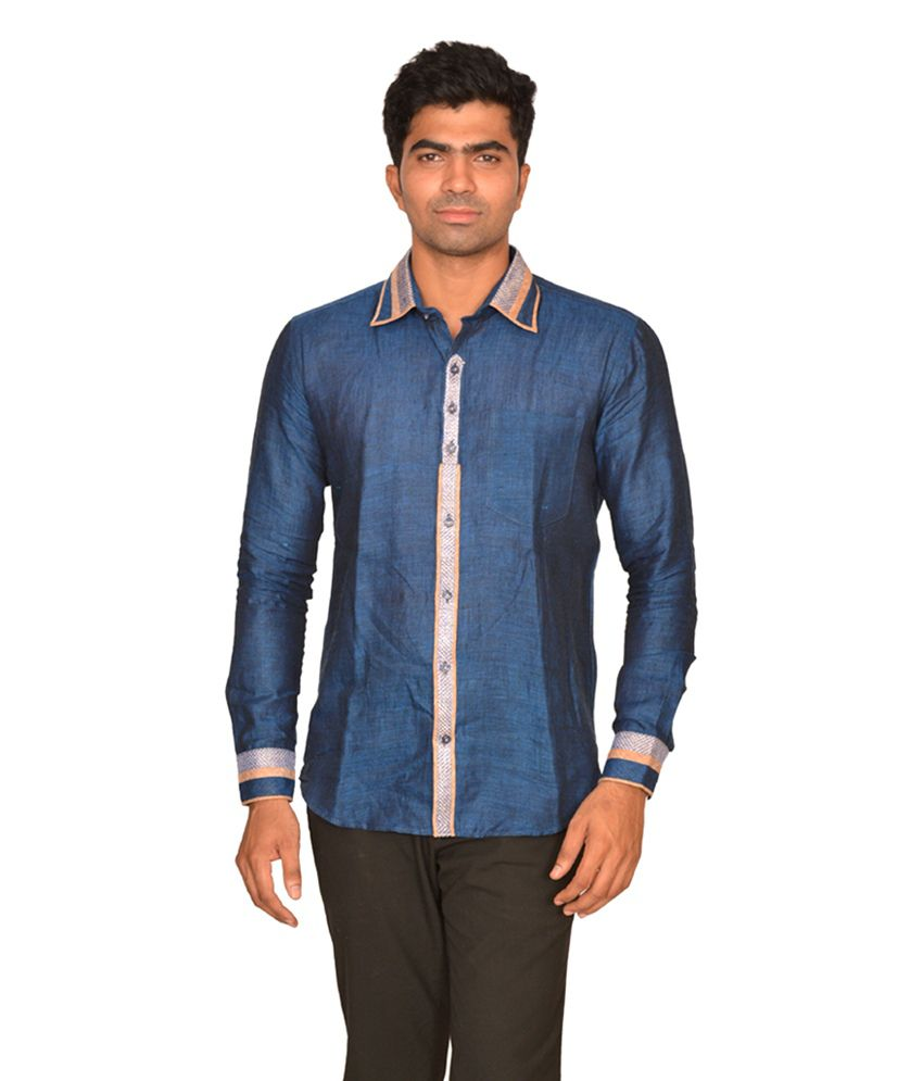 DoubleF Blue Linen Partywear Men\'s Shirt - Buy DoubleF Blue Linen ...