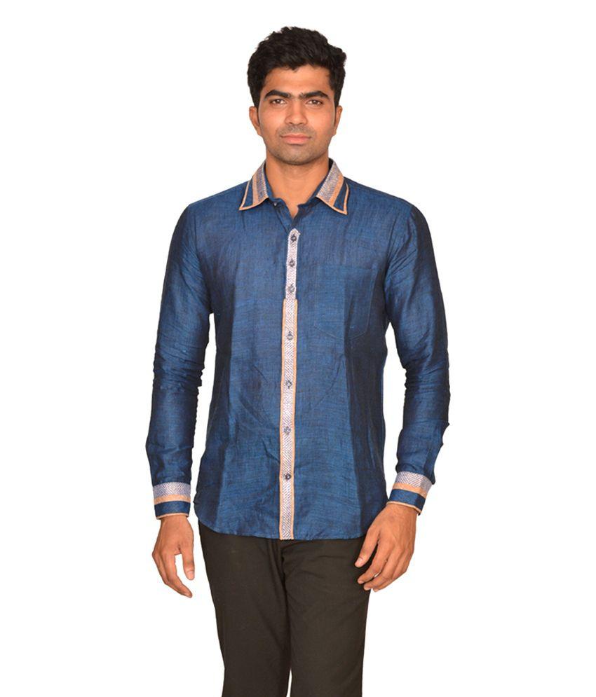 DoubleF Blue Linen Partywear Men\'s Shirt - Buy DoubleF Blue Linen ...