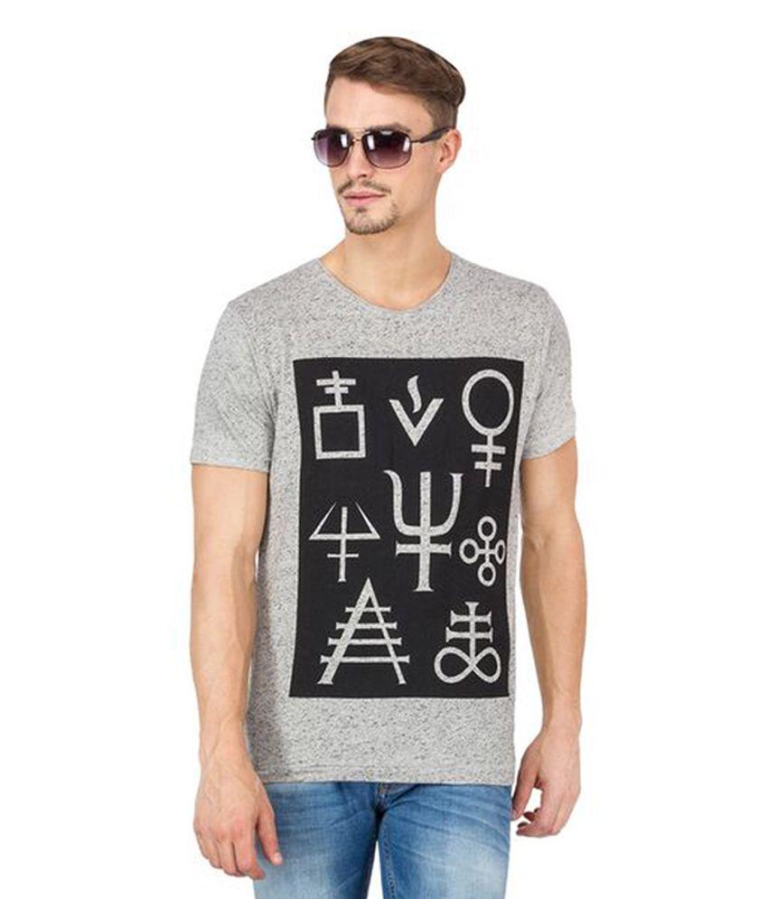 Slub Grey Cotton Round Neck Printed Men's T-Shirt