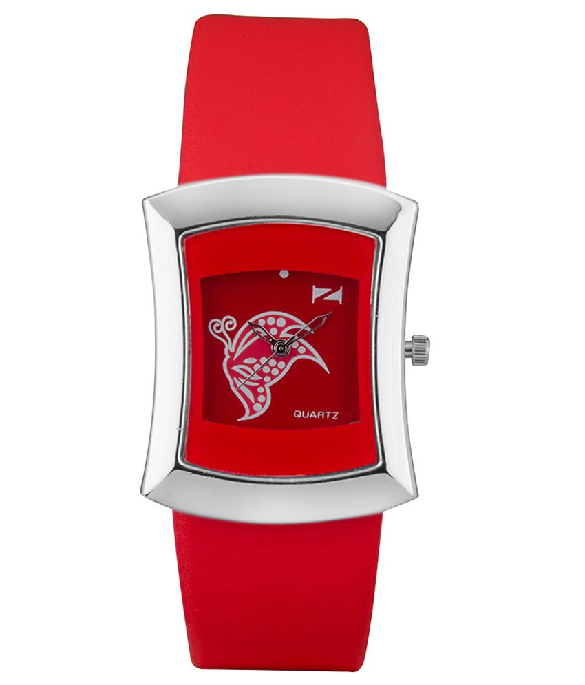 Zeus Red Leather Analog Watch