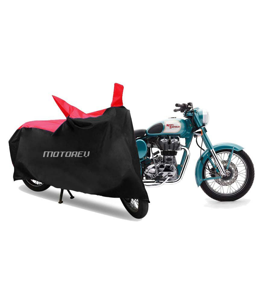 motorev premium red black sporty bike cover for royal enfield rh snapdeal com