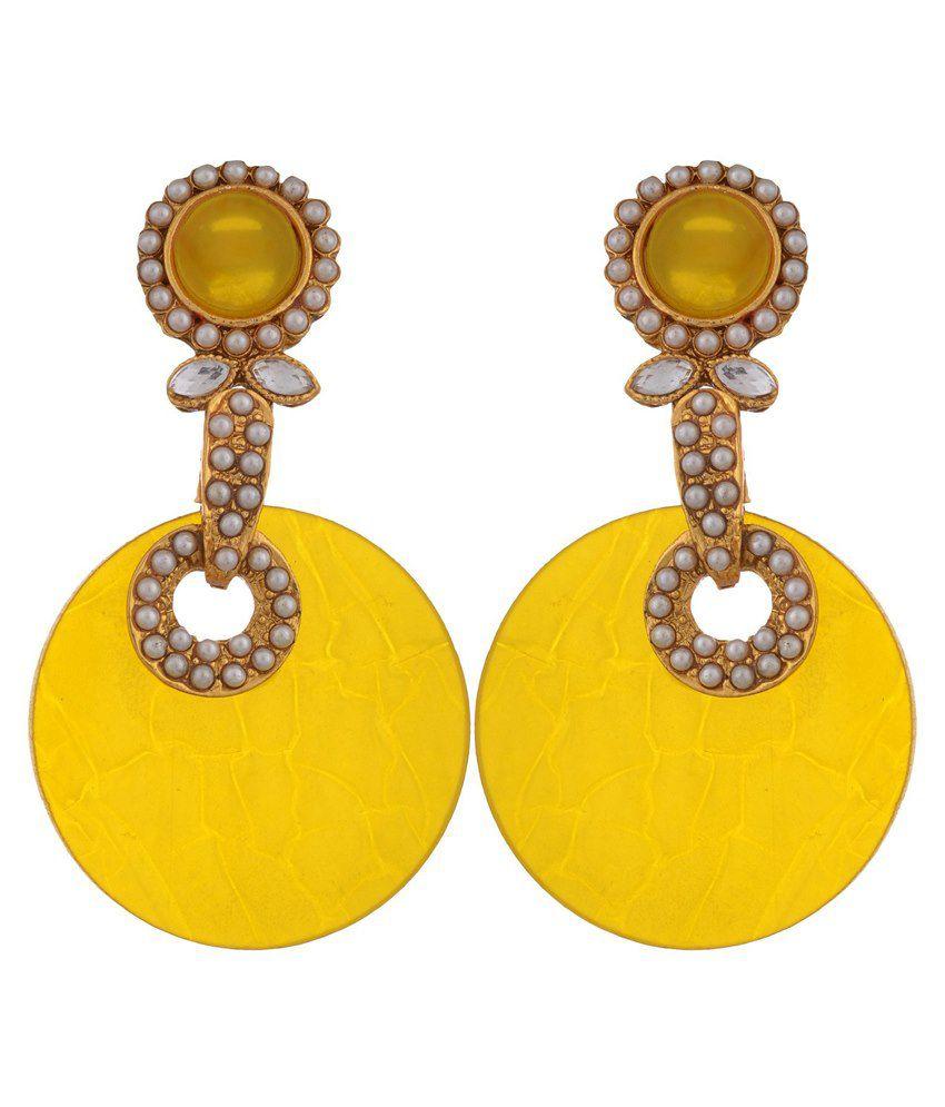 Sixmeter Jewels Yellow Pearls Drop Earrings