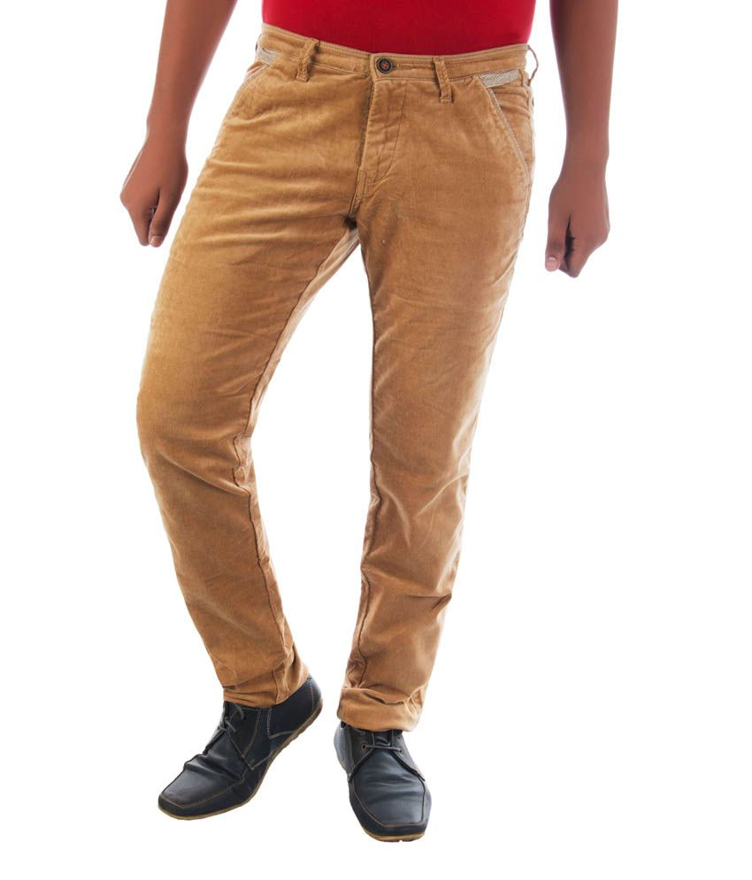 Urban Navy Beige Slim Fit Casual Chinos Trousers