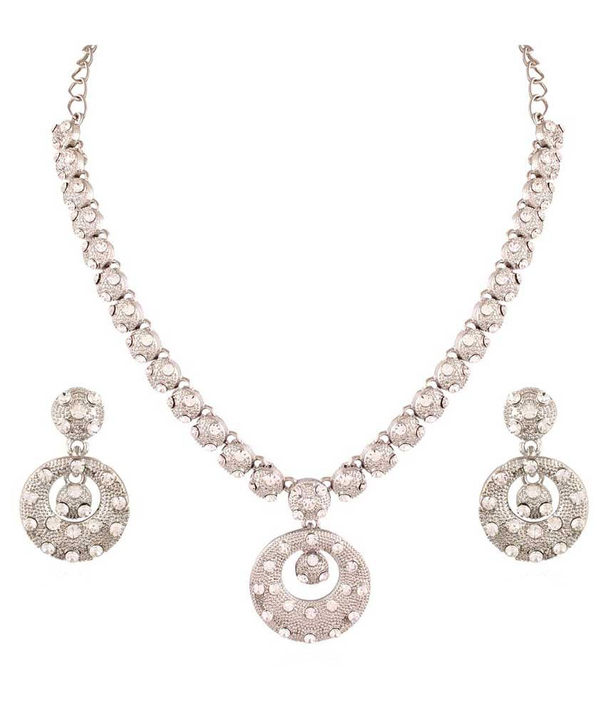 Pearls Cart White Alloy Just Like Diamonds Traditional Necklace Set