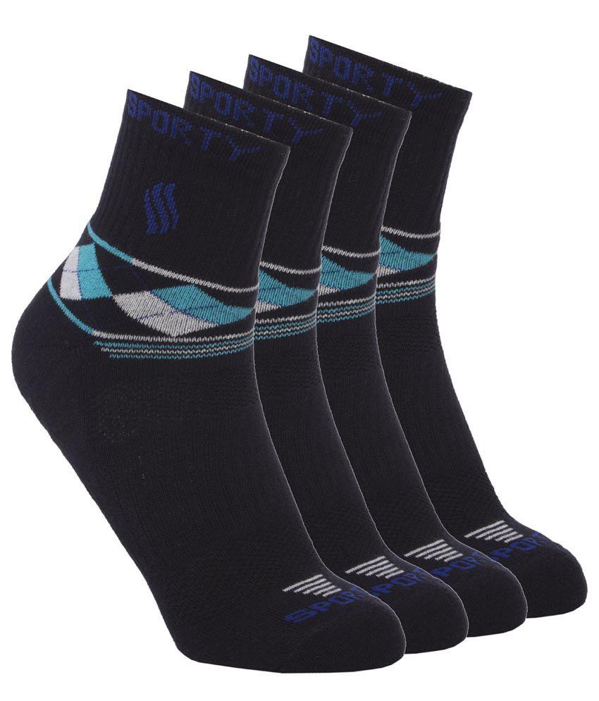 Simon Men'S Black Cotton Geomatric Design Ankle Socks - 4 Pair Pack