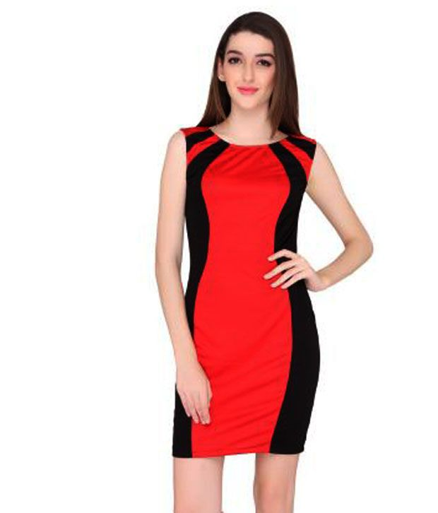 Elliana Red Polyester A Line Dress