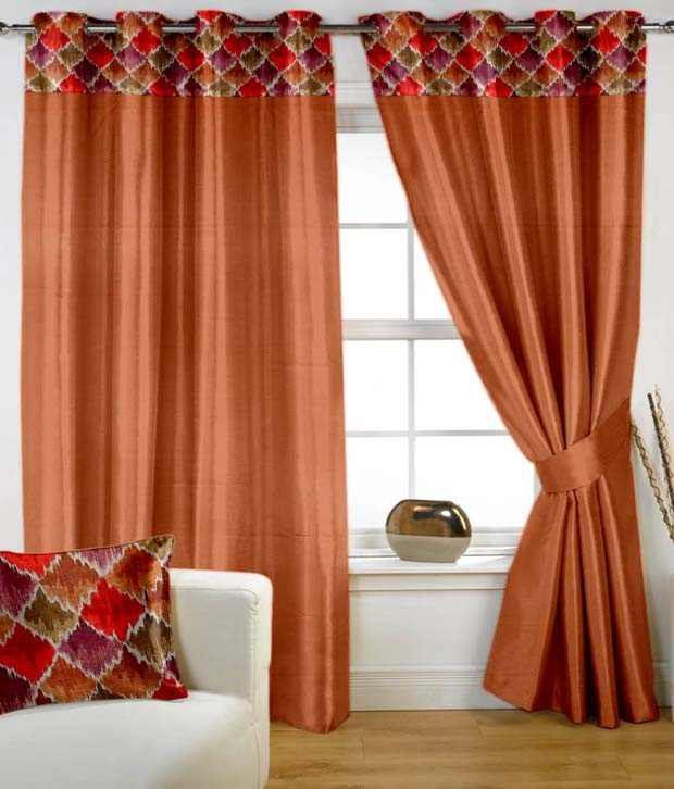 HOMEC Single Window Eyelet Curtain Contemporary Orange