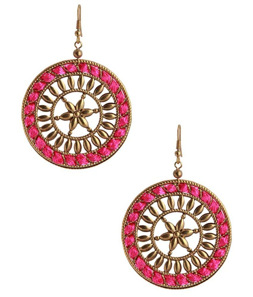 NIROSHA Gold Tone Bold Dangle Earrings