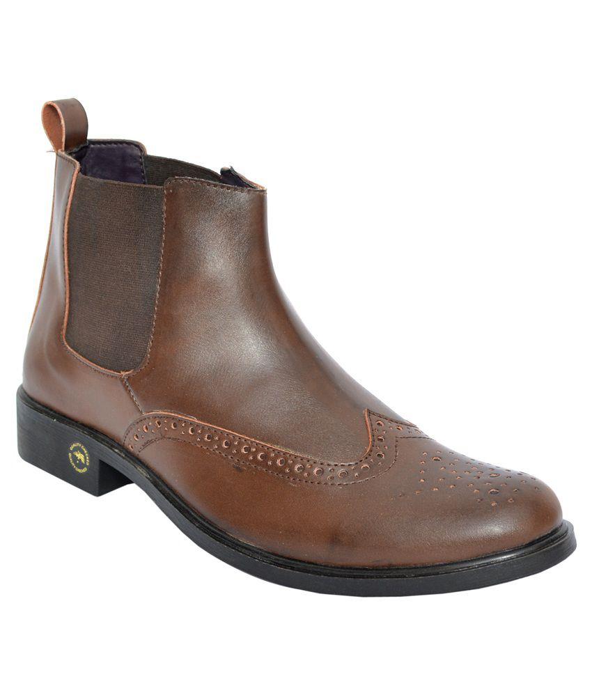 Zeppo Leefox Brown Faux Leather Boots