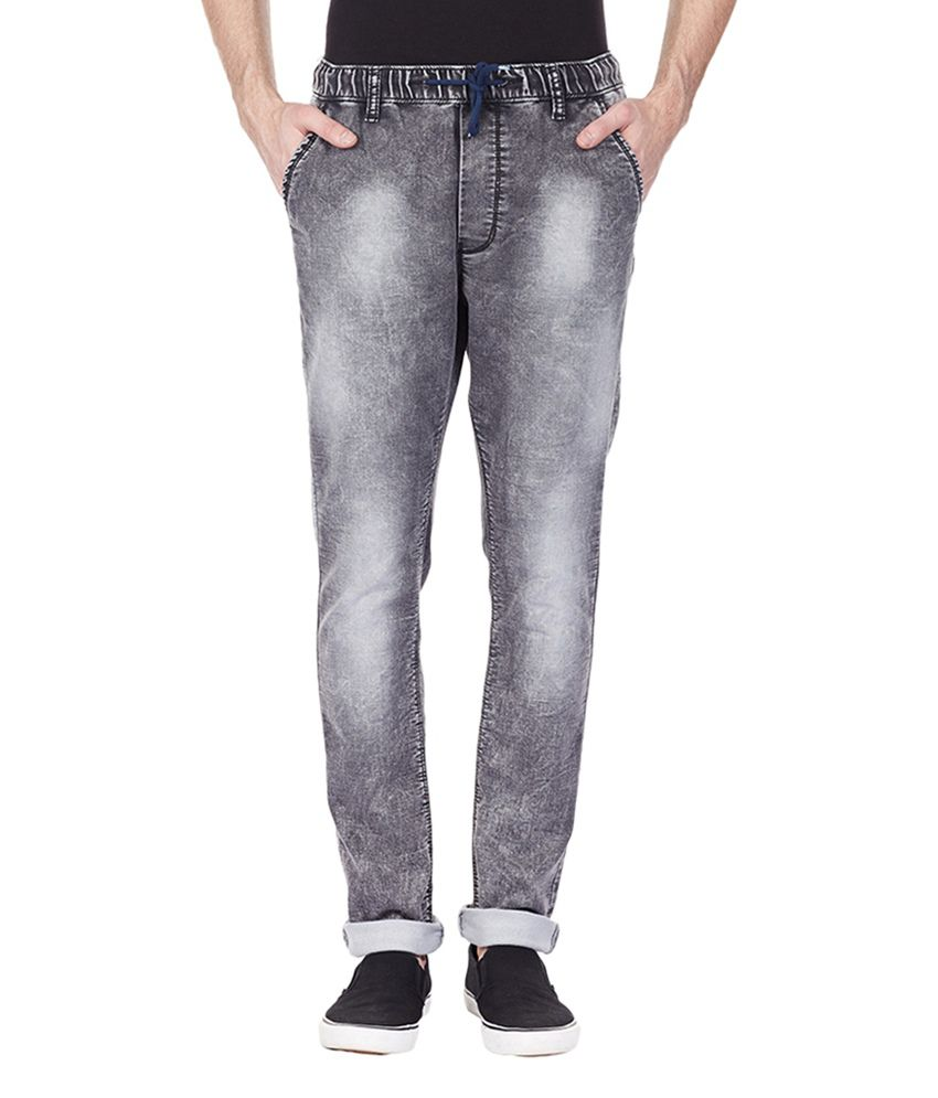 Bandit Dark Grey Cotton Men's Casual Slim Fit Jeans