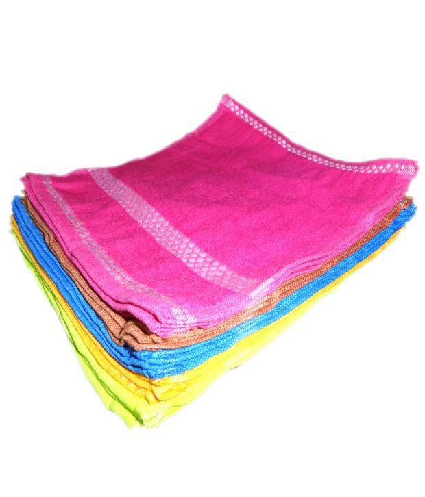MILAP Set of 24 Cotton Face Towel - Multi Color