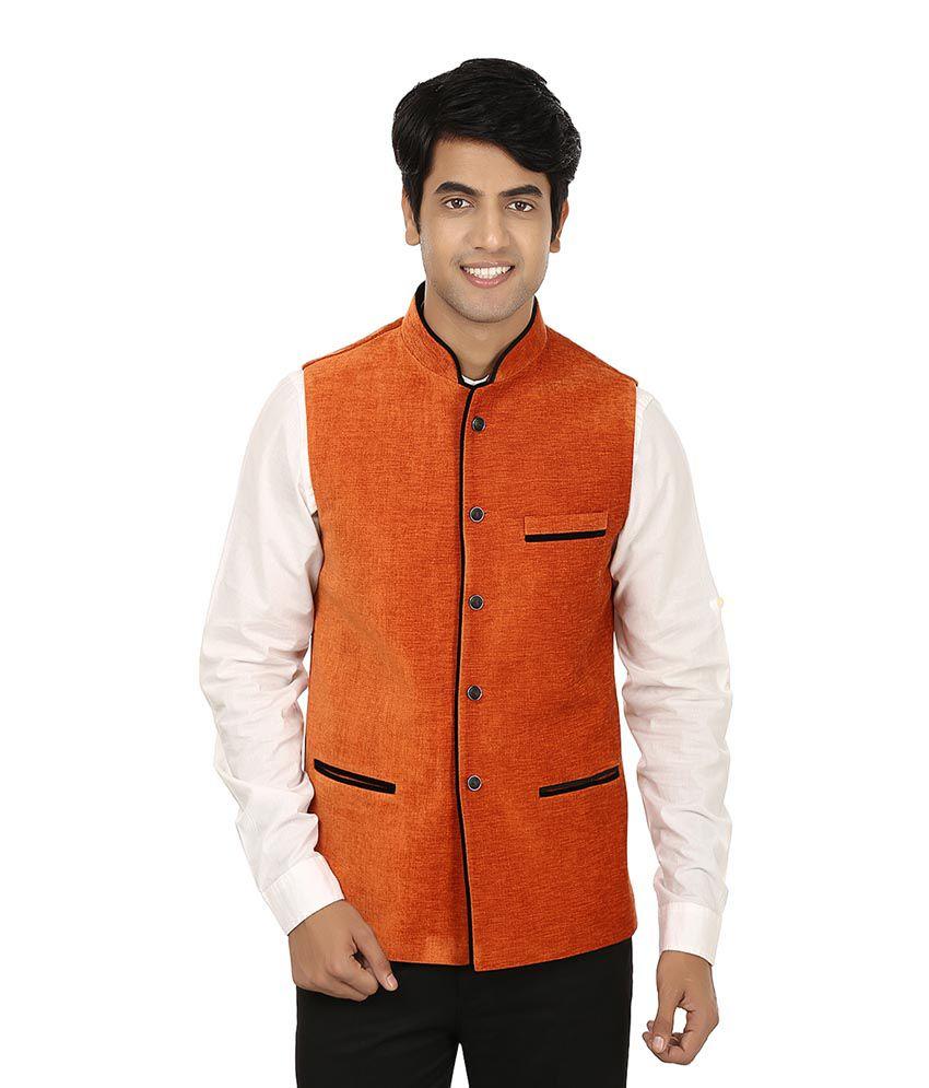 Platinum Studio Orange Cotton Waistcoat