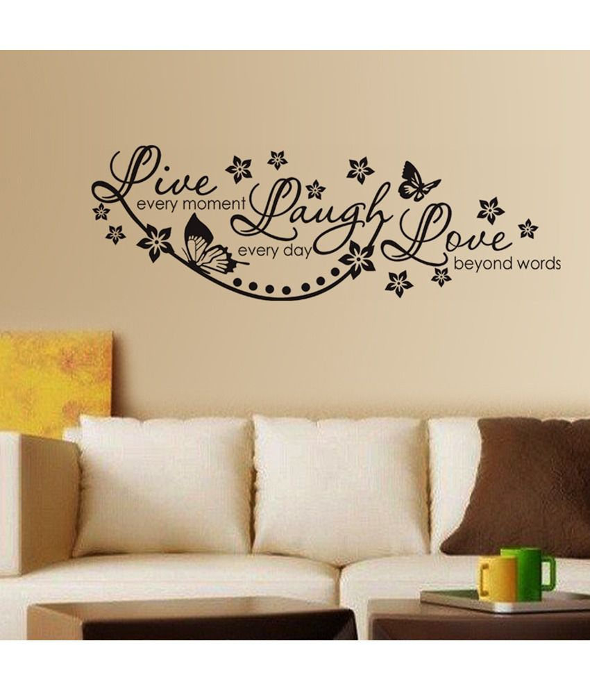 stickerskart live laugh and love wall quote family wall decor black 60x45 cms buy. Black Bedroom Furniture Sets. Home Design Ideas