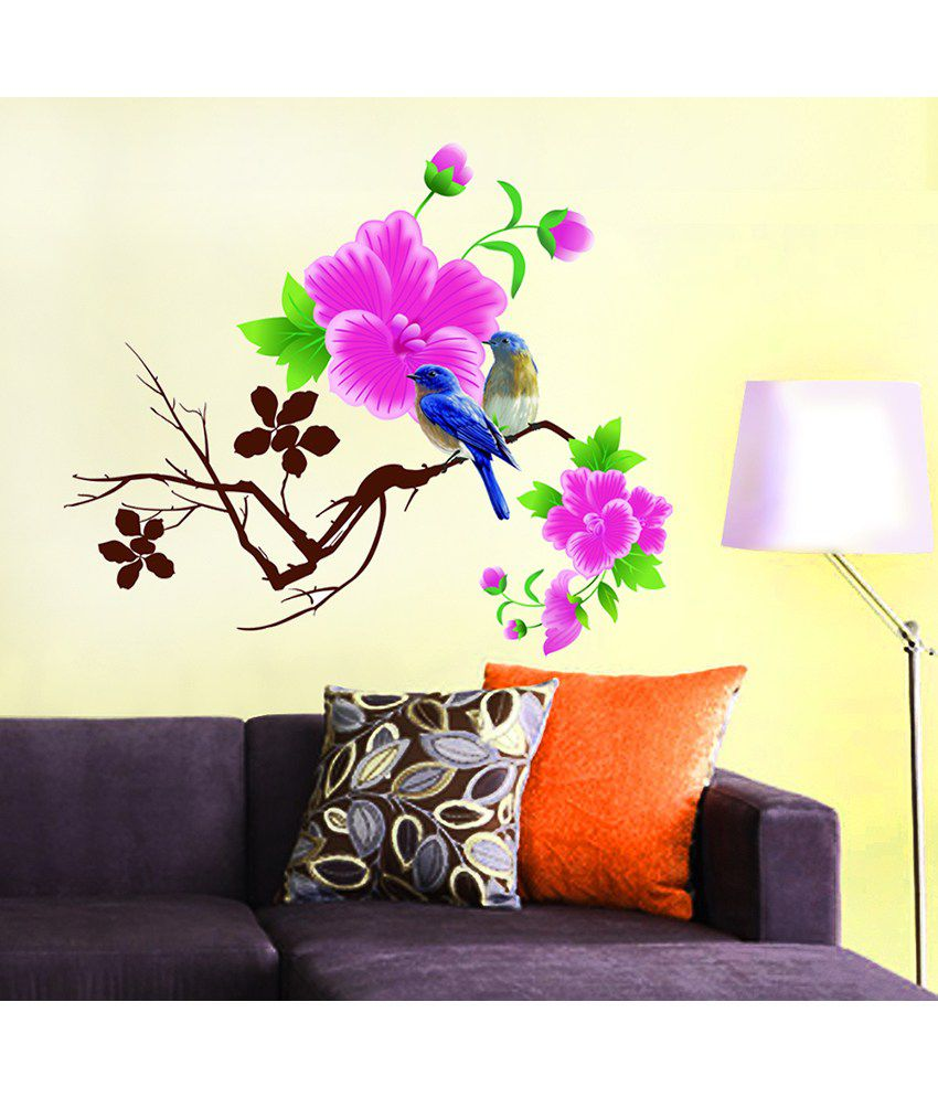Stickerskart living room design blue birds with pink for Wall decoration items