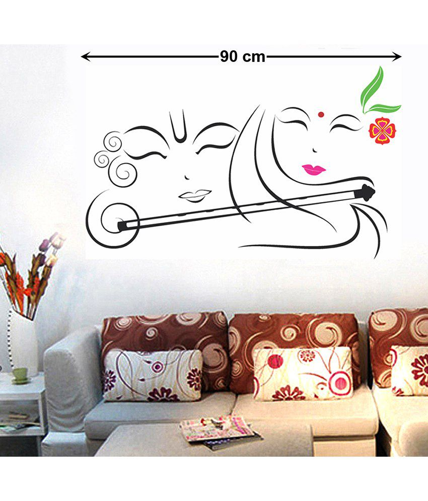 Wall stickers radha krishna -  Stickerskart Devotional Pvc Multicolour Wall Stickers