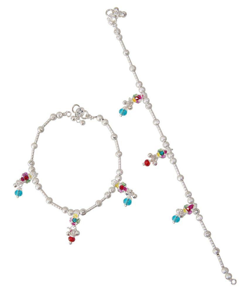 Taj Pearl Silver Alloy Anklets