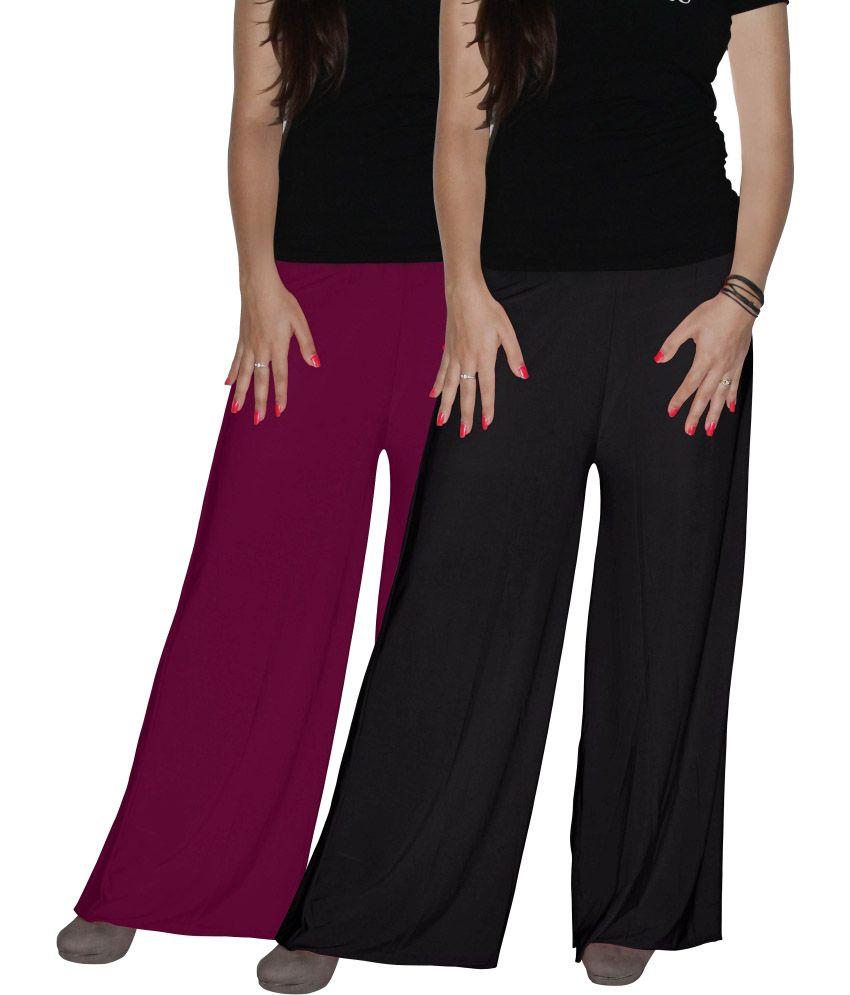 Xarans Purple & Black Sharara Style Plazo
