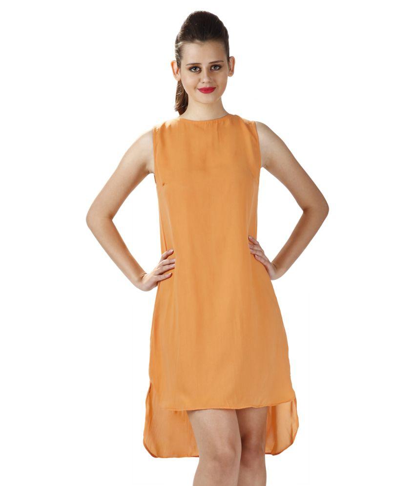 Miss Chase Cotton Orange Shift Dress