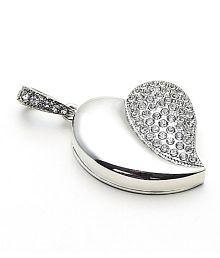 Quace Silver Heart Cool Fancy USB Flash 32 GB Pen Drive