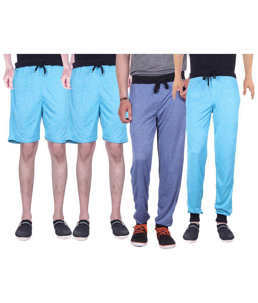 Gag Wear Multicolour Pack of 2 Trackpants & 2 Melange Shorts
