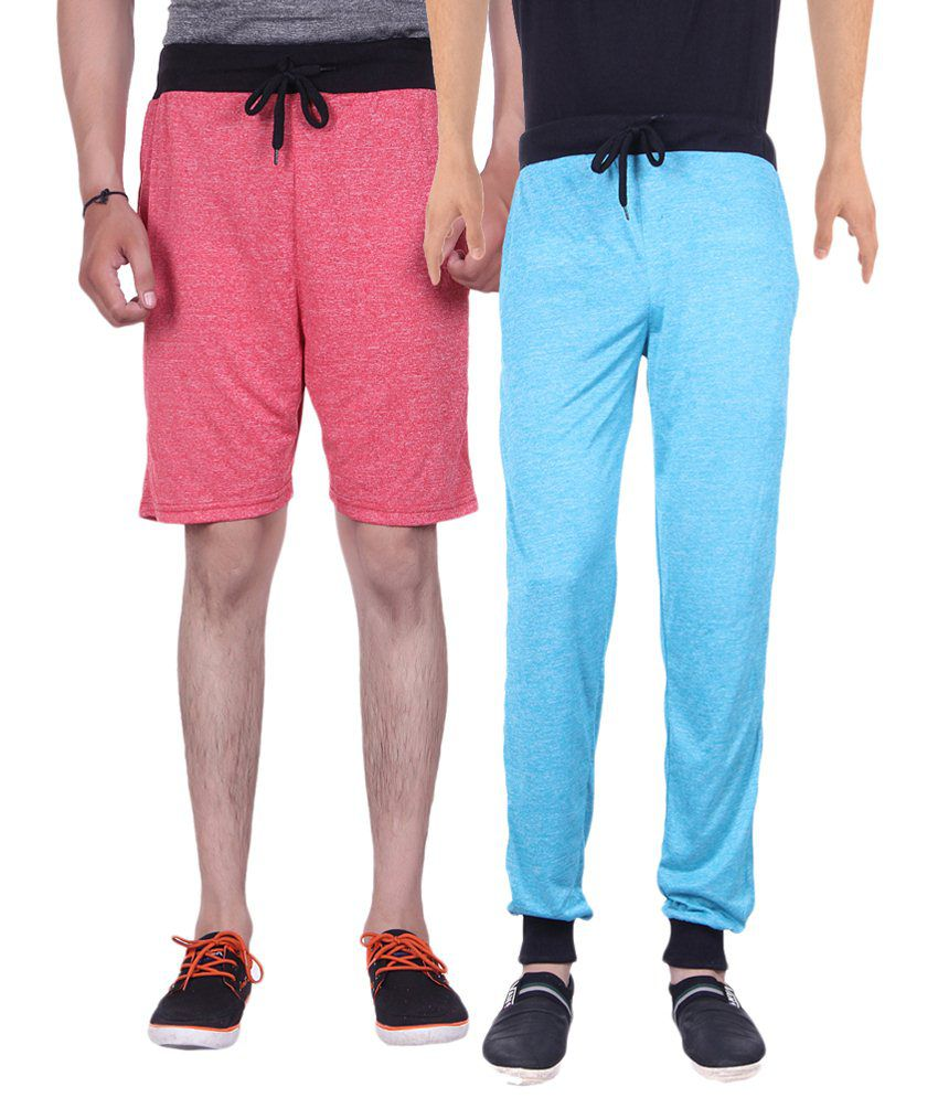 Gag Wear Pack of Blue Trackpants & Red Melange Shorts