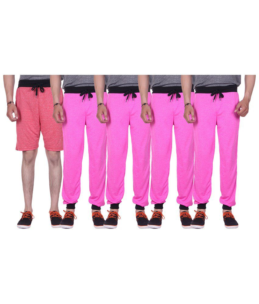 Gag Wear Pink Pack of Melange Shorts & 4 Trackpants