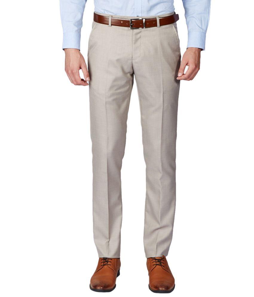 Brown Slim Fit Formal Trousers