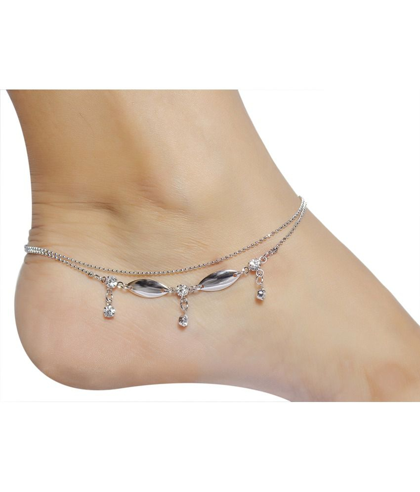 Much More Indian Traditional Wonderful Silver Plated 1 Pair Fashion Anklet For Women Jewelry