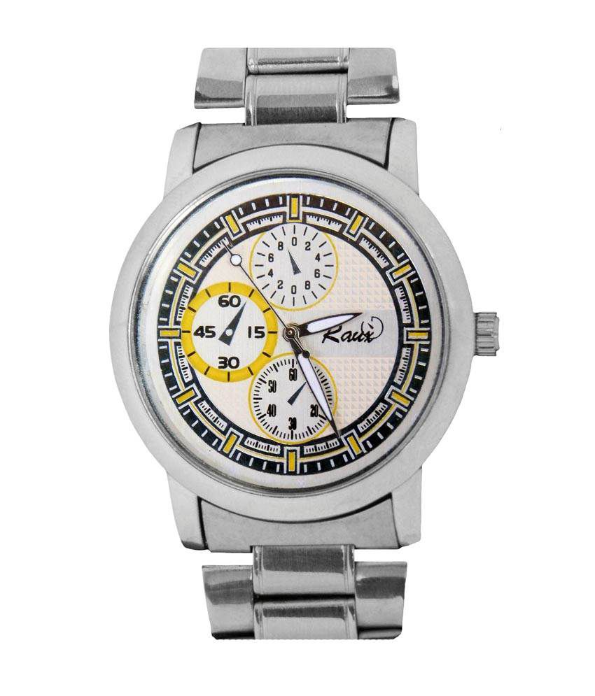 Raux Round White Smart Dial Analog Watch