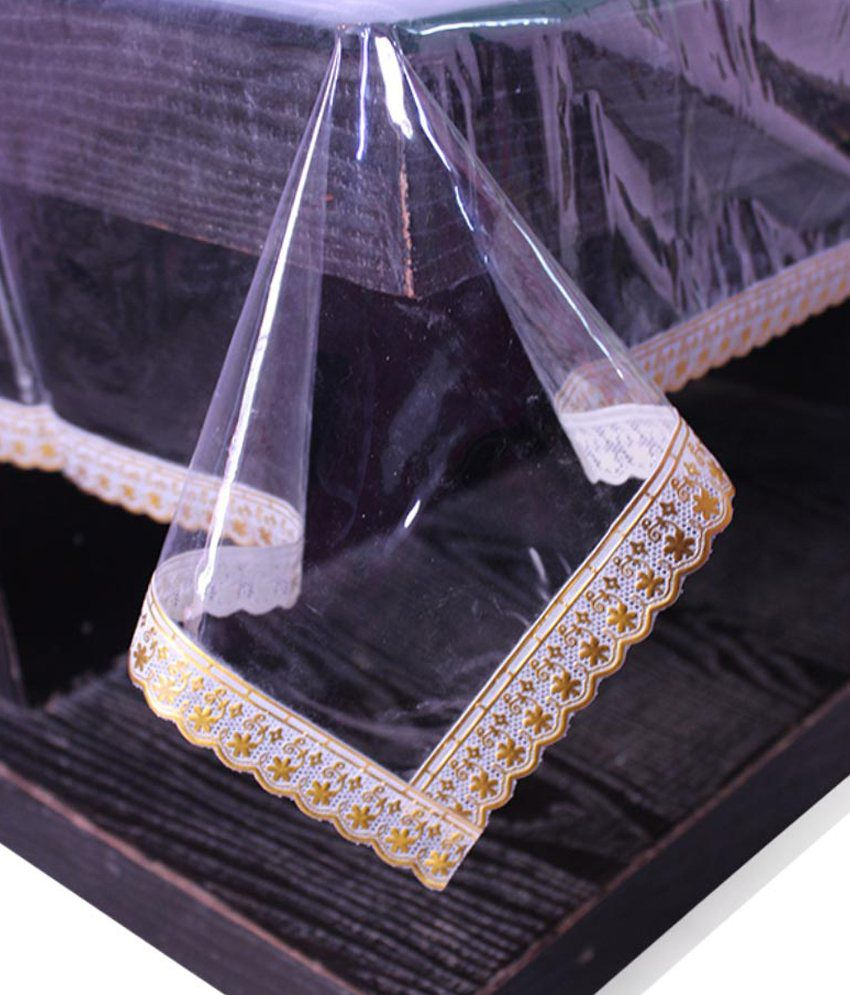 E-Retailer's Stylish Transparent With Golden Small Lace Center Table Cover