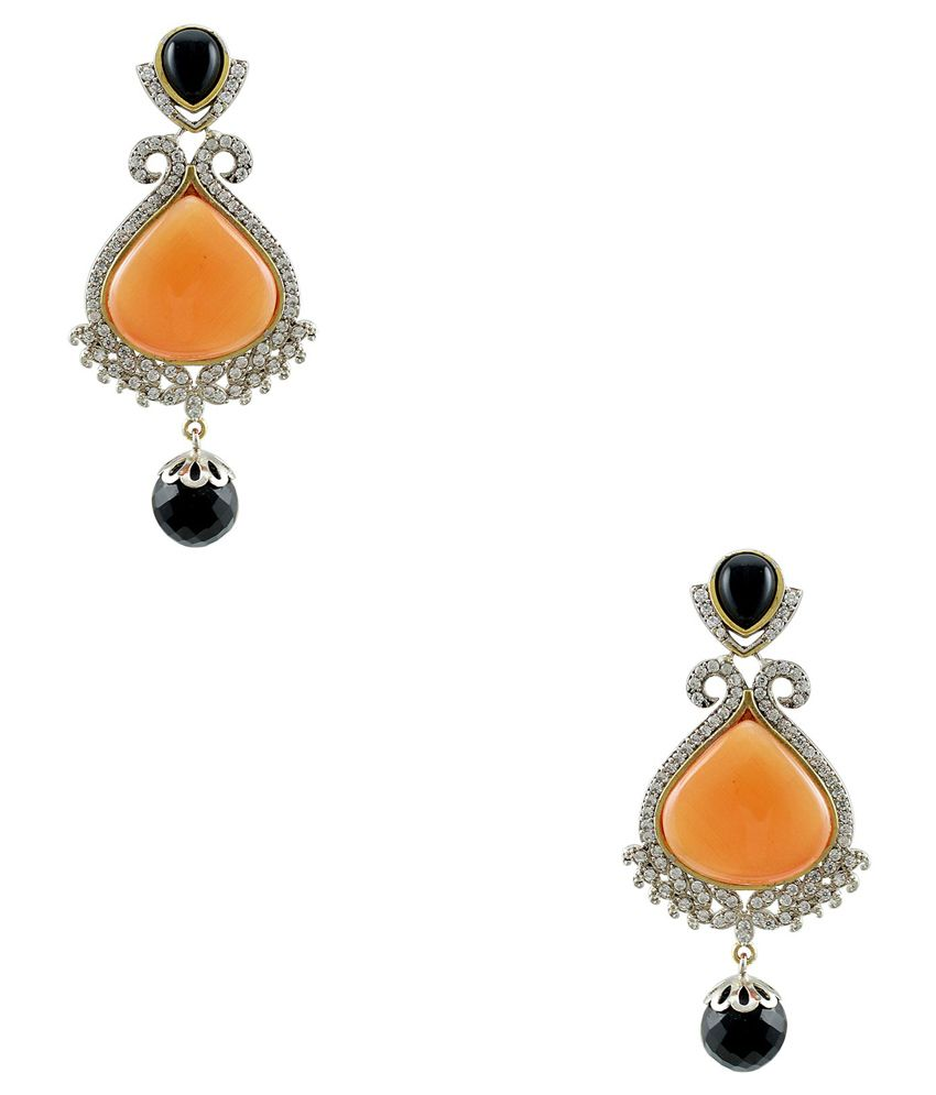 Orniza Orange Bridal Alloy American Diamonds Drop Earrings