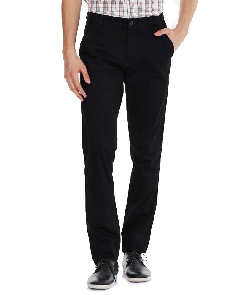Satguru Jeans Black Regular Fit Trousers