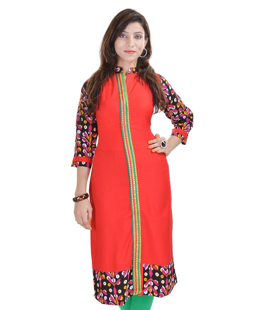 URG Creation Red Poly Rayon Kurti