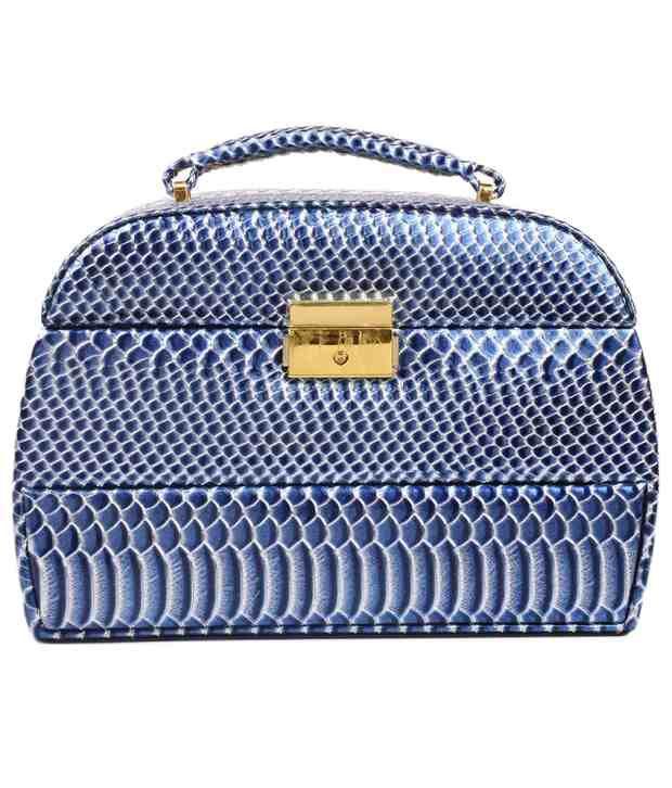 Lineysha Boutique Golden And Blue Jewellery Cum Vanity Box