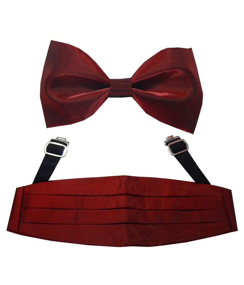 Navaksha Men'S Maroon Shimmer Cummerbund And Bow Tie Set