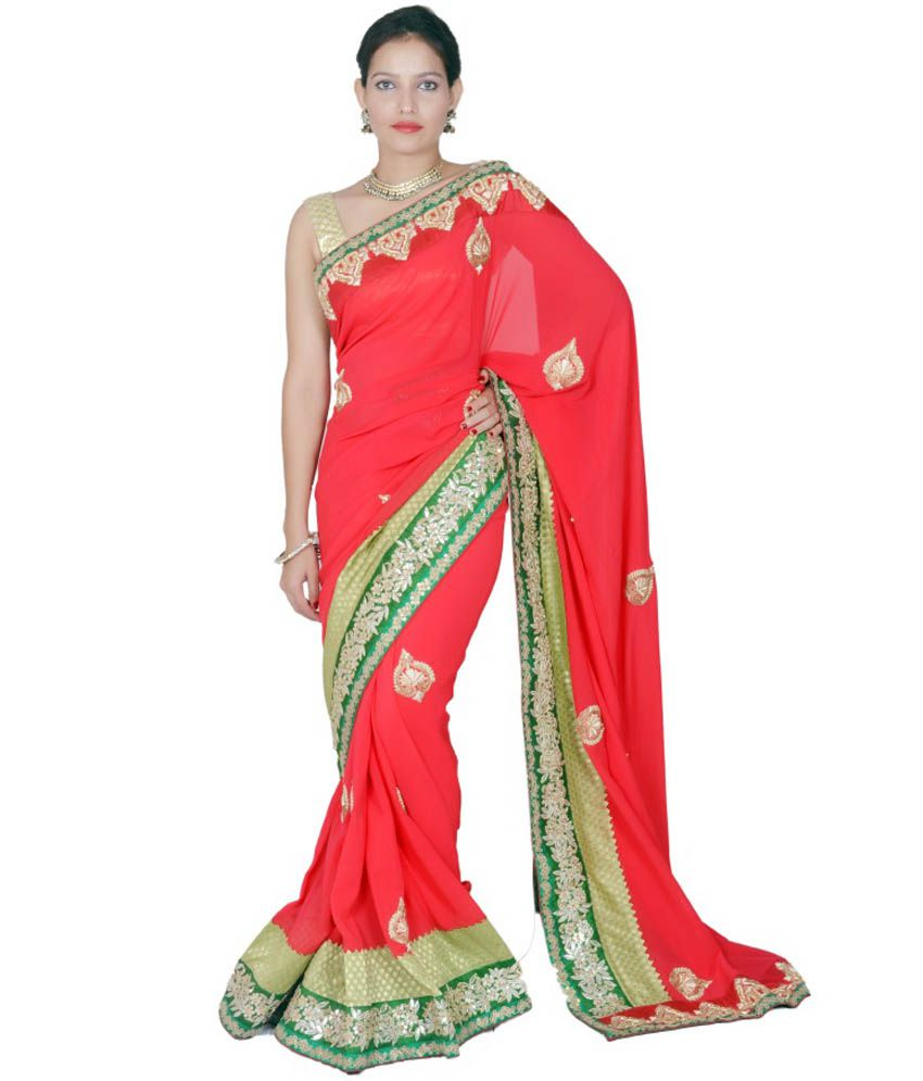 Tehzeeb Red Pure Georgette Saree