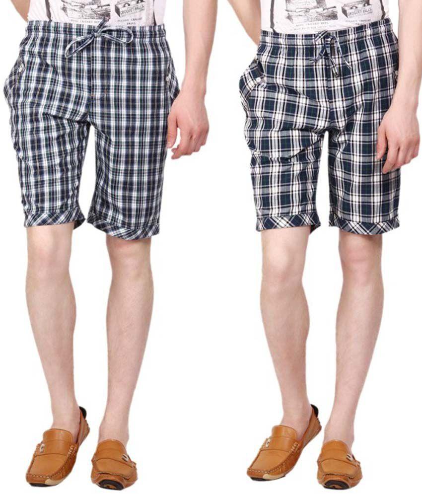 Wajbee Multicolour Cotton Checks Shorts Set Of 2