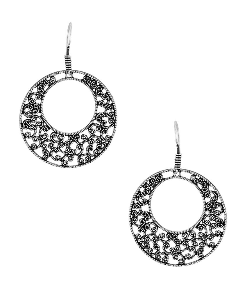 Voylla Floral Round Inspiration Designer Oxidized Earrings