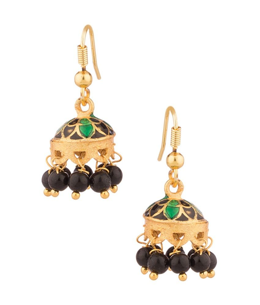 Voylla Jhumki Earrings With Black Beads