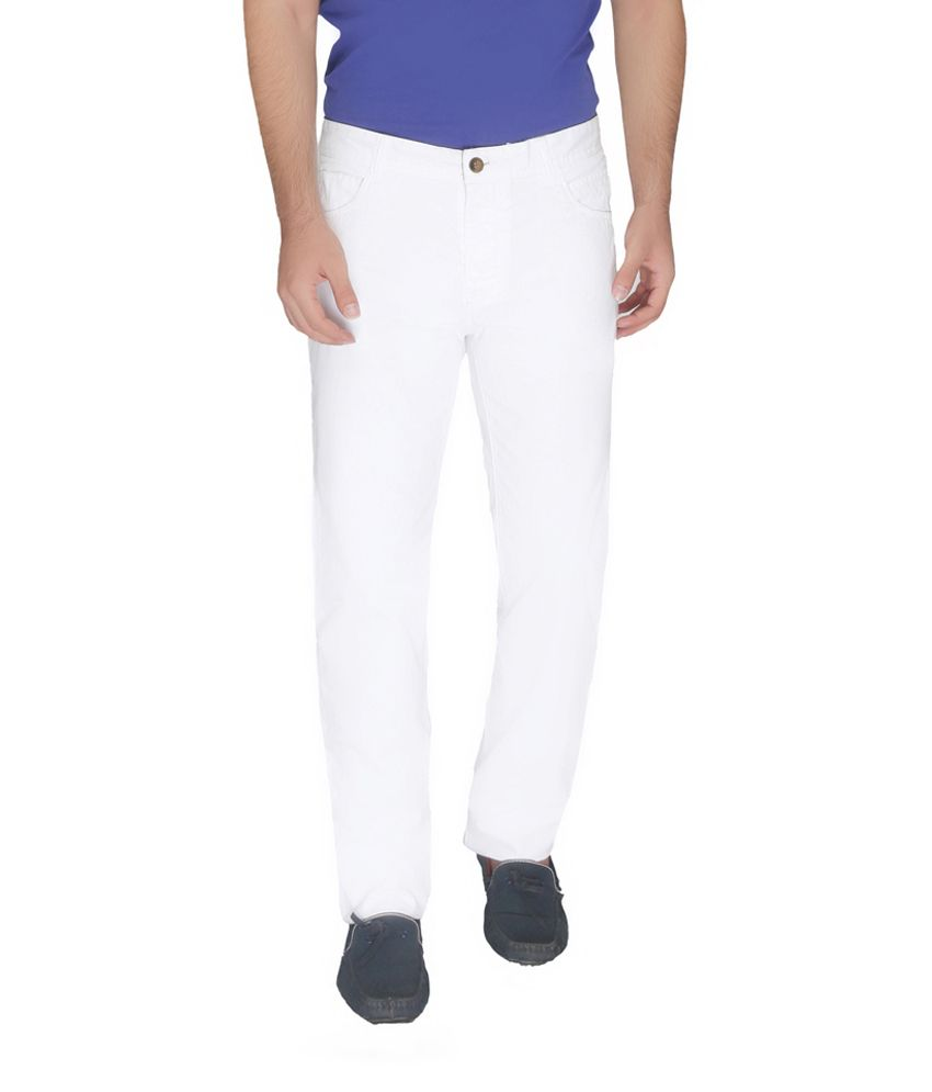 Again? Vintage White Slim Fit Casual Chinos