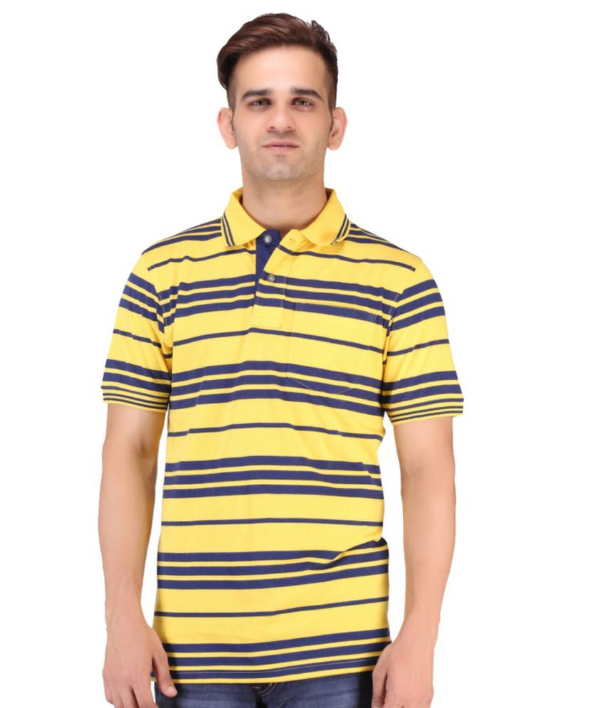 Keywest Yellow Cotton Stripe Polo T Shirt