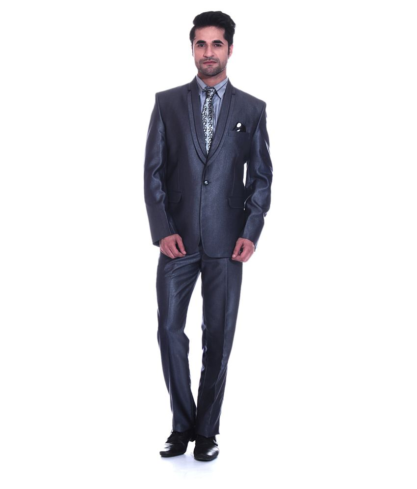 Tag 7 Grey Poly Blend Formal Wear 2 Piece Suit