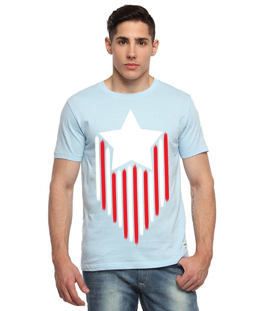 Adro Light Blue & Red Captain America Printed Cotton T Shirt