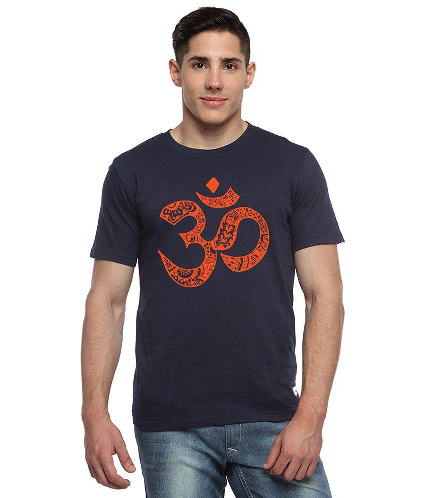 Adro Navy Blue & Orange Om Printed Cotton T Shirt