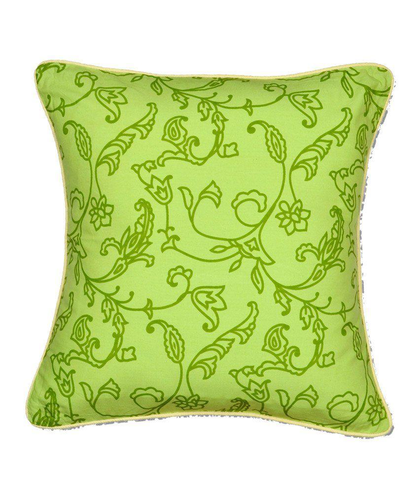 CushionCasa Green Floral Cushion Cover