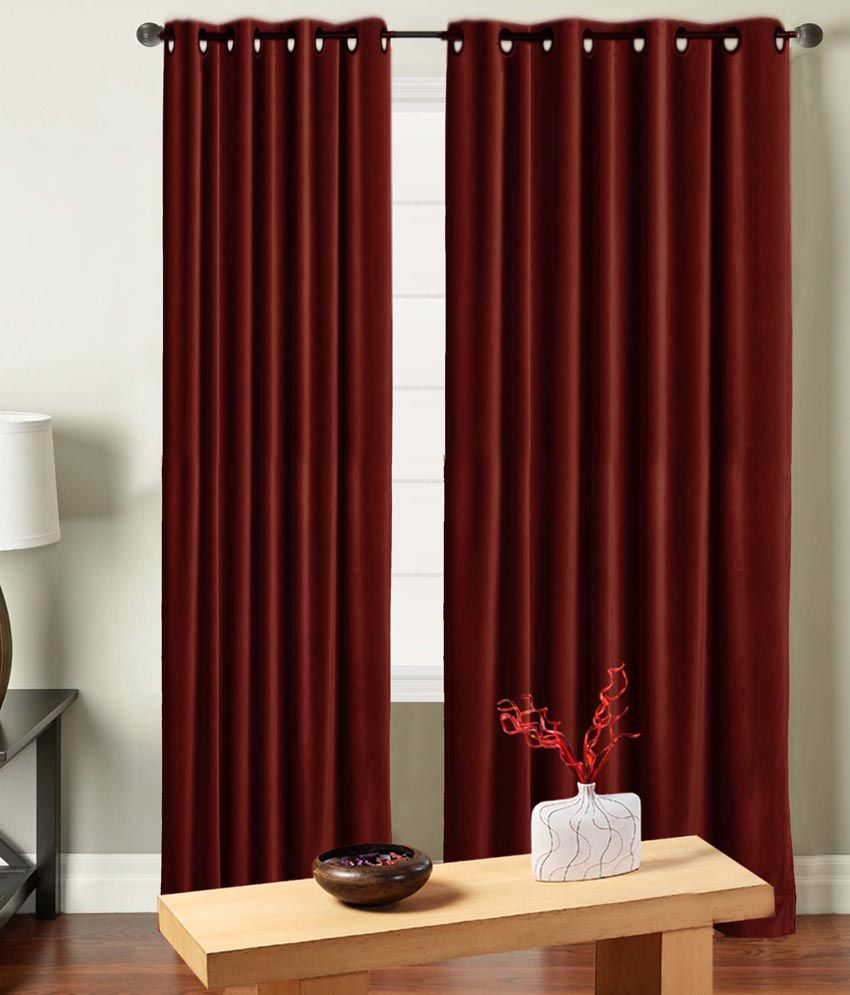 Red velvet window curtains - Saral Home Maroon Royal Velvet Window Curtains Pack Of 4 Solid Red